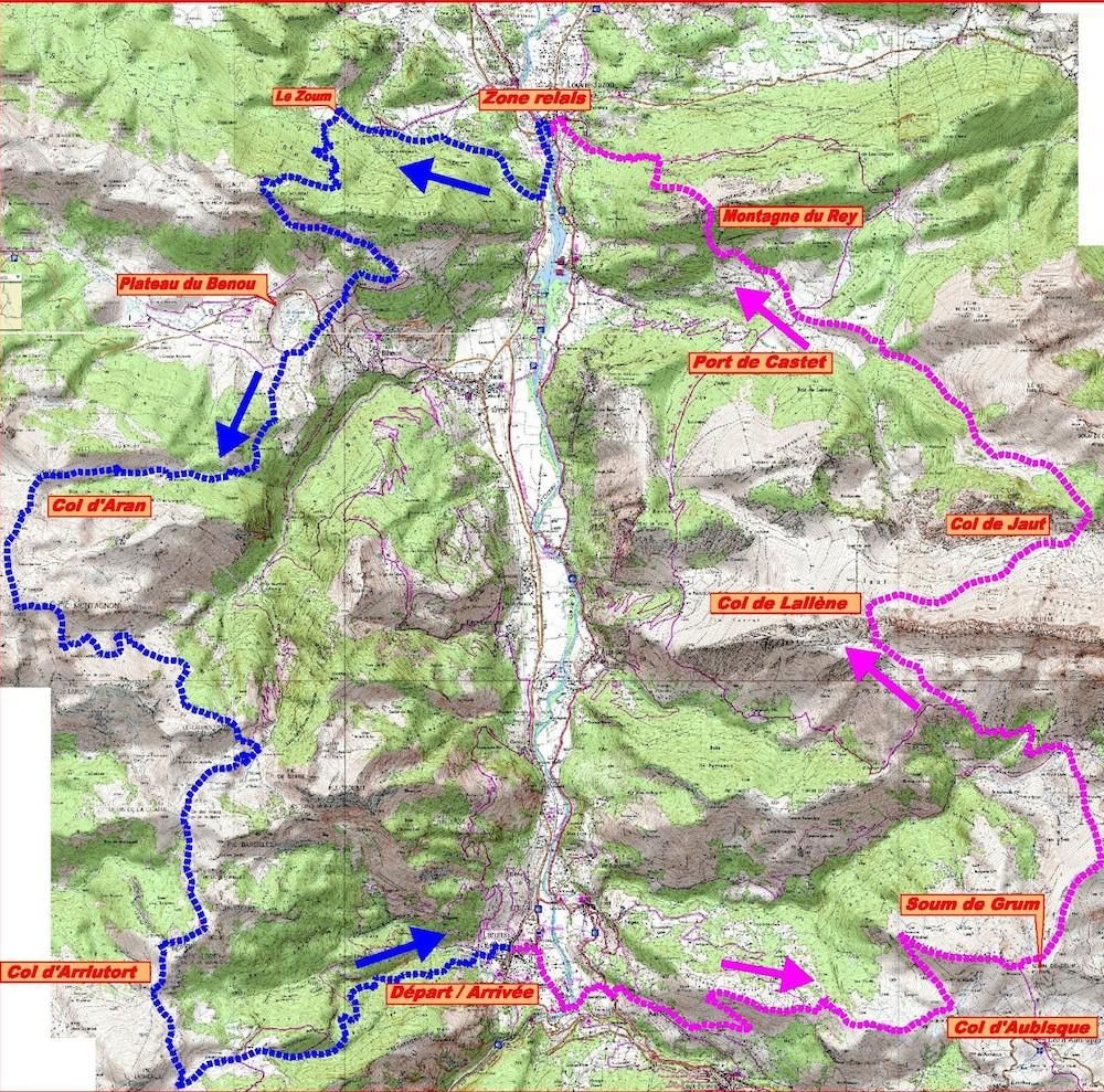 Le parcours du Grand Trail de la Vallée d'Ossau 2014