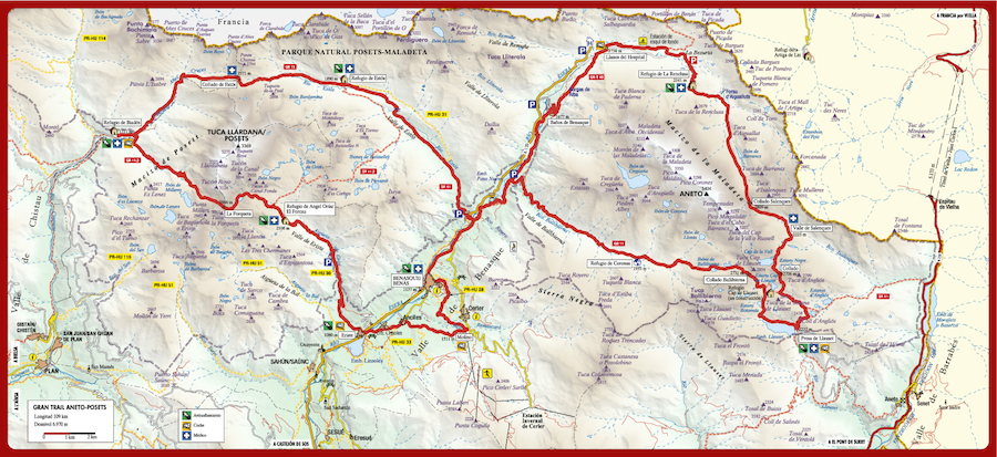 carte de l'Aneto - Posets Trail 2014