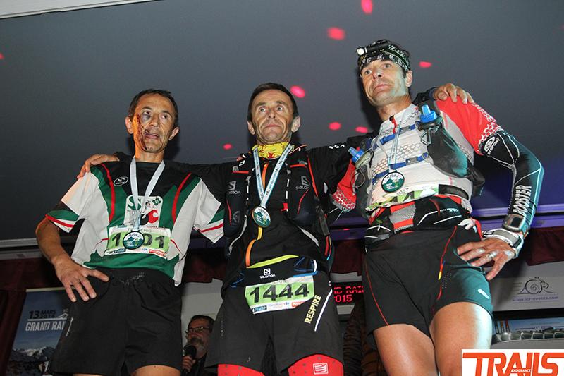 Pierre Saucy, frédéric laxalde et Mael Prigent, le podium du 120 km