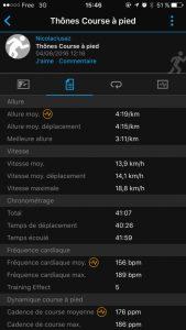 Garmin connect - ecran bilan
