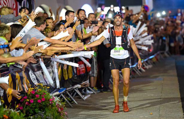 26/08/2016 UTMB 2016 CCC Arrival Michel LANNE (FRA) takes 1st place © UTMB® - photo : Michel Cottin