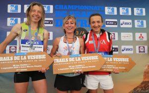 Podium femmes, championnat de France de Trail long 2016