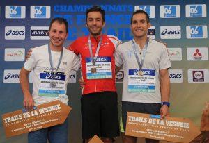 Podium hommes, championnat de France de Trail long 2016