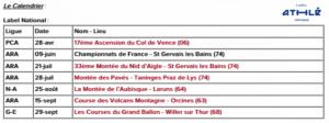 CALENDRIER COUPE DE FRANCE DE COURSE EN MONTAGNE 2019
