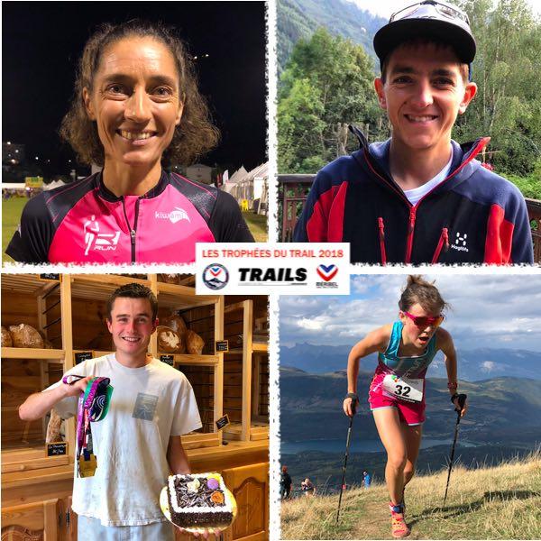 TROPHÉES DU TRAIL 2018 - LES LAURÉATS - Jocelyne Pauly, Xavier Thévenard, Alexandre Fineet Axelle Mollaret
